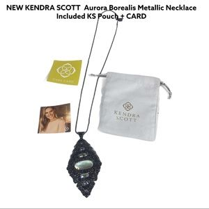 NEW Kendra Scott Gunmetal Faceted DiChroic Stones Retired Long Necklace+Pouch